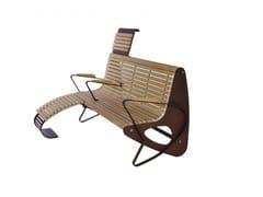 Euroform W, ALLMORE Panchina in legno con braccioli con schienale