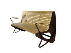 Euroform W, ALLONE Panchina in legno con braccioli con schienale