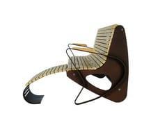 Euroform W, ALLRELAX Panchina in legno con braccioli con schienale