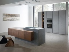 Cucina componibile in resina di cemento con isola ANDROMEDA | Cucina in resina di cemento - Andromeda