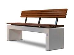 Panchina con schienale in calcestruzzo armato e legnoANDROMEDA WOOD | Panchina con schienale - CALZOLARI