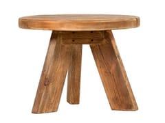 Tavolino fatto a mano rotondo in legno masselloANISE - ARREDIORG
