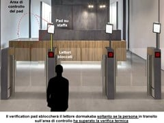 Tornello con pad termografico e riconoscimento mascherinaARGUS | Termoscanner - DORMAKABA ITALIA