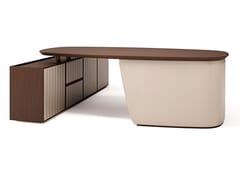 Scrivania direzionale rettangolare in legno con scaffale integratoARTHUR XL | Scrivania con scaffale integrato - BELLANI
