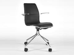 Sedia ufficio girevole in pelle a 4 razzeAS100 | Sedia ufficio con braccioli - HOWE