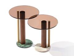 Tavolino rotondo in vetro con base in legno e marmoATHENA H - L - BELLANI