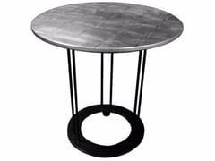 Tavolino rotondo foglia argento da salotto AUREOLA | Tavolino foglia argento - Aureola