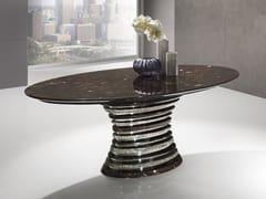 Tavolo ovale in Crystal Stone® e acciaioAURIGA | Tavolo ovale - BALLARINI