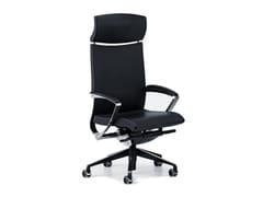 Sedia ufficio in pelle a 5 razze con poggiatestaAVIA 4044 - TALIN