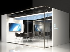 Isola ufficio multimediale in vetro con illuminazione integrataAZURE | Isola ufficio per meeting - ELITABLE
