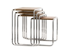 Tavolino di servizio in acciaio e legno B 9 Thonet Pure Materials - B 9