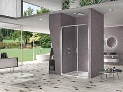 Box doccia con porta battente e fisso in linea per nicchia NATURA 4000 - AR-PTF L/R - Quadra