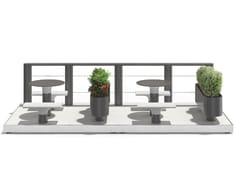 Tavolo per spazi pubblici in acciaio con sedie integrateBAIA - PARKLET A - METALCO