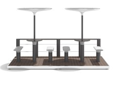 Tavolo per spazi pubblici in acciaio con coperturaBAIA - PARKLET B - METALCO