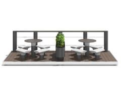 Tavolo per spazi pubblici in acciaio con sedie integrateBAIA - PARKLET E - METALCO