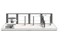 Tavolo per spazi pubblici in acciaio con sedie integrateBAIA - PARKLET G - METALCO