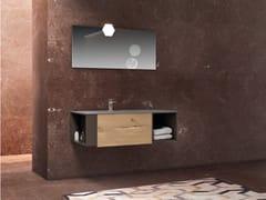 Mobile lavabo singolo sospeso in rovere con lavabo integratoBASSANO - COMPOSIZIONE 11 - ALPEMADRE