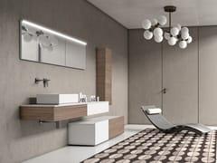 Mobile lavabo singolo in noce con pensileBASSANO - COMPOSIZIONE 12 - ALPEMADRE