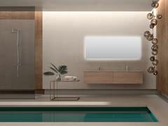 Mobile lavabo doppio sospeso in noce con specchioBASSANO - COMPOSIZIONE 2 - ALPEMADRE