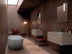 Mobile lavabo in noce con lavabo integrato in ecomaltaBASSANO - COMPOSIZIONE 5 - ALPEMADRE