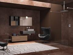Mobile lavabo singolo sospeso in rovere con pensileBASSANO - COMPOSIZIONE 6 - ALPEMADRE