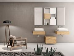 Mobile lavabo doppio sospeso in rovere con cassettiBASSANO - COMPOSIZIONE 7 - ALPEMADRE