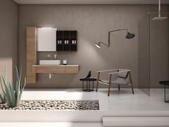 Mobile lavabo singolo sospeso in rovere con pensileBASSANO - COMPOSIZIONE 8 - ALPEMADRE