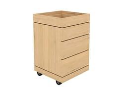 Mobile bagno in legno massello con cassetti con ruoteCASSETTIERA BAGNO - ETHNICRAFT