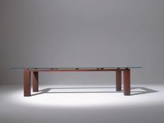 Tavolo rettangolare in legno e vetro BD01 - Maxima