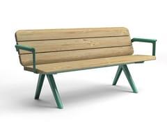 Panchina in acciaio inox e legno con braccioli con schienale NUNU | Panchina con braccioli - Nunu