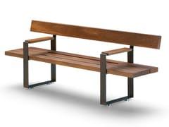 Panchina in legno con braccioli con schienaleBULL | Panchina con schienale - METALCO