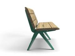 Panchina in acciaio e legno con schienale NUNU | Panchina con schienale - Nunu