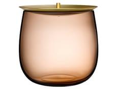 Contenitore in cristallo con coperchio in ottoneBERET LARGE - NUDE