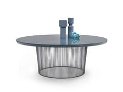 Tavolo rotondo con base in metallo e piano impiallacciatoBERRY   Tavolo - FLEXFORM