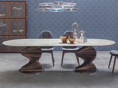 Tavolo in gres porcellanato con base in rovere masselloBIG FIRENZE | Tavolo - TONIN CASA