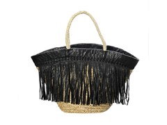 Borsa in seagrass BLACK LEATHER - BAZAR BIZAR