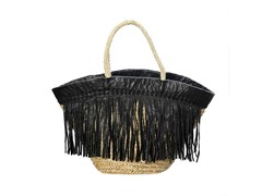 Borsa in seagrass BLACK LEATHER FRINGE - BAZAR BIZAR