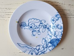 Piatto fondo in porcellana BLUE SUMMER CHOP PLATE