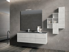 Mobile lavabo in cristallo con specchio BLUES 2.12 - BMT