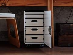 Cassettiera ufficio in alluminio verniciato a polvere con ruotebordbar_box homeoffice - BORDBAR DESIGN