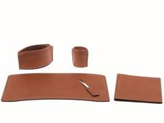 Set da scrivania in cuoio rigenerato BRANDO 5 PZ -