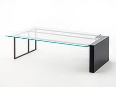 Tavolino basso da caffè in legno e vetro BRERA | Tavolino rettangolare - Milano Collection