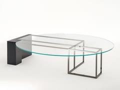 Tavolino basso da caffè in legno e vetro BRERA | Tavolino in legno e vetro - Milano Collection