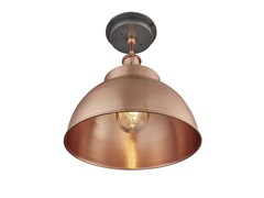 Lampada da soffitto in rameBROOKLYN OUTDOOR DOME FLUSH MOUNT | Lampada da soffitto in rame - INDUSTVILLE