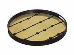 Vassoio rotondo in legno e vetro BROWN DOTS - Gilded Layers