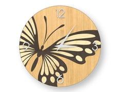 Orologio da parete in legno intarsiato BUTTERFLY WARM | Orologio - DOLCEVITA ANIMALIER