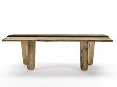 Tavolo rettangolare in legno massello CANAL | Tavolo in legno di briccola -