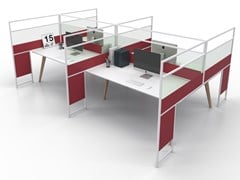 Pannello divisorio da scrivania in alluminio e vetroCARING P45 A - ESTEL GROUP