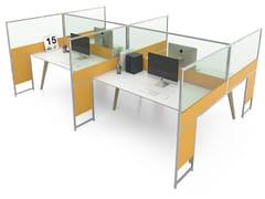 Pannello divisorio da scrivania in alluminio e vetroCARING P45 B - ESTEL GROUP