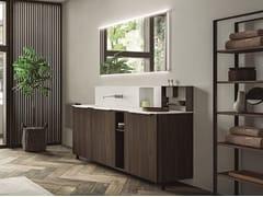 Mobile lavabo da terra in nobilitato con ante con specchio CARTABIANCA | Mobile lavabo in nobilitato - Cartabianca